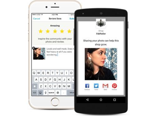 Izgled Etsy aplikacije prilikom ocenjivanja